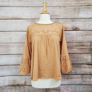 Sonoma Tan Embroidered Eyelet Bell Sleeve Blouse